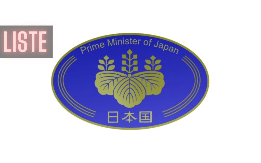 Liste Premiers ministres du Japon