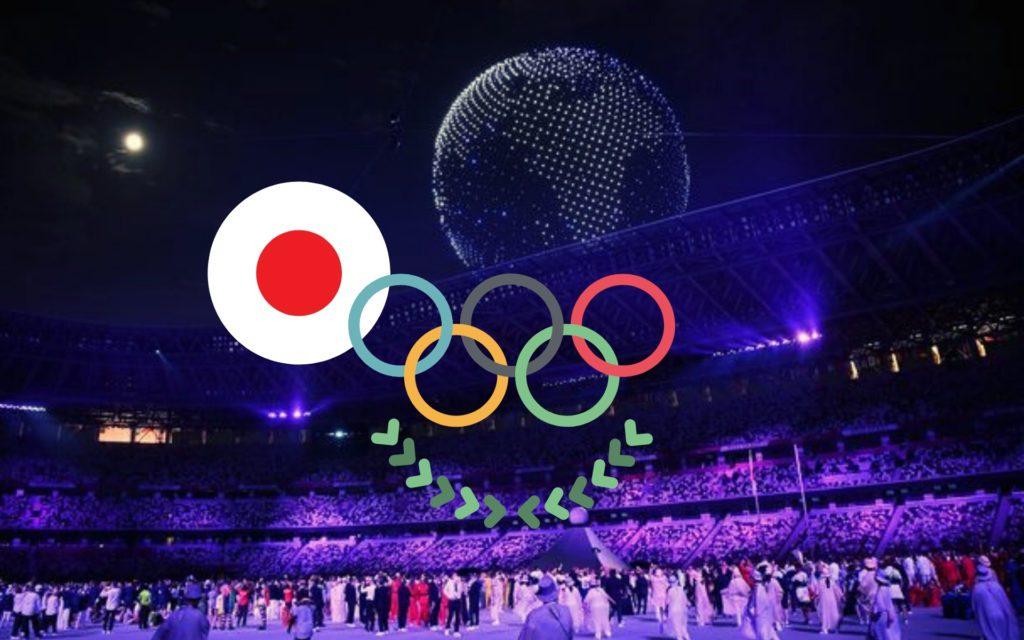drones dans le ciel de la cérémonie d'ouverture des Jeux olympiques de Tokyo 2021