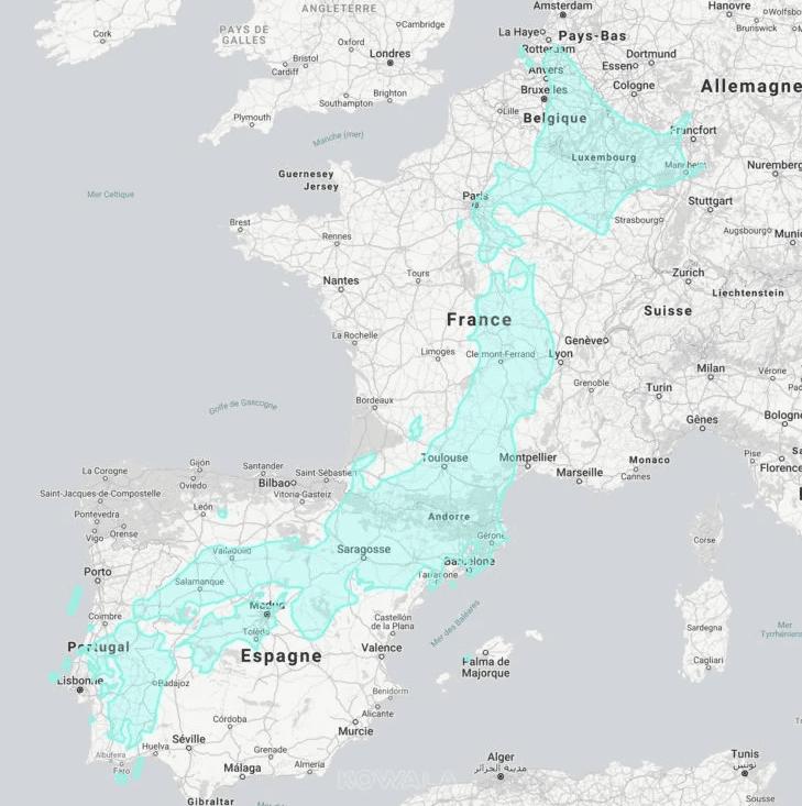 Comparaison de la superficie du Japon sur la France