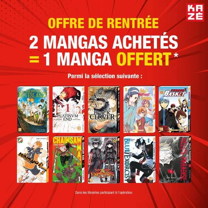 2 mangas Kazé achetés = 1 manga supplémentaire offert