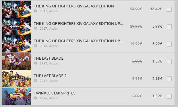 Sélection de jeux vidéo SNK sur PC en promo